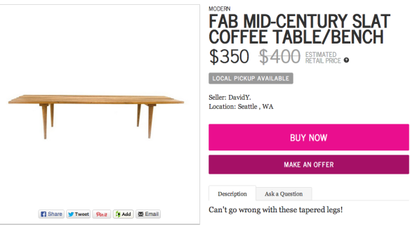 Fab Mid-Century Slat Coffee Table:Bench by Chairish | Chairish