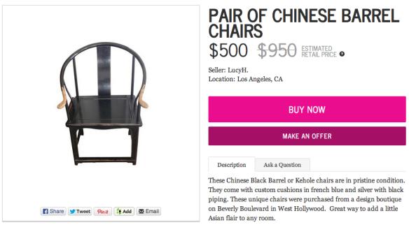 Pair of Chinese Barrel Chairs by Chairish | Chairish