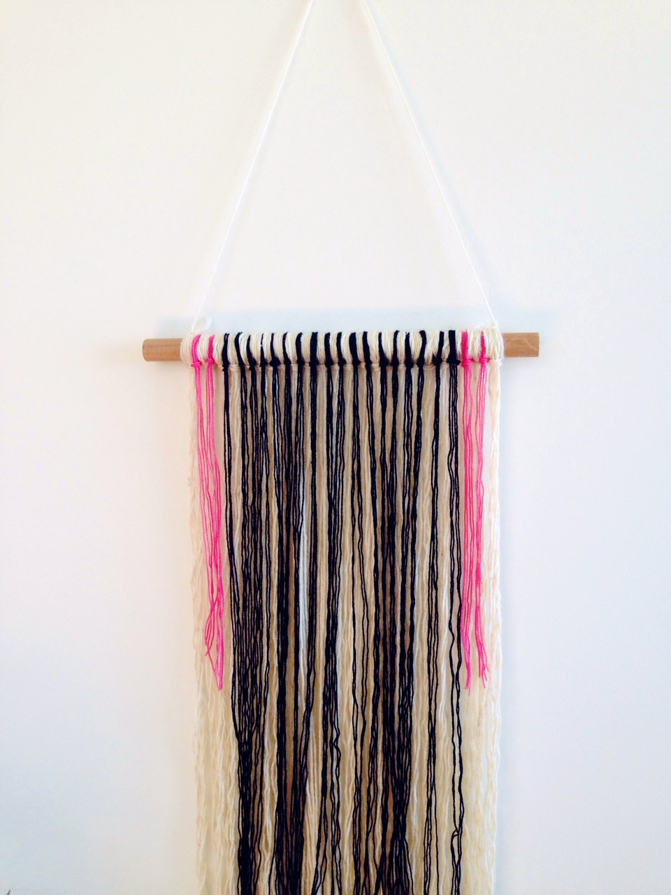 Insanely easy diy wall yarn hanging a spoonful of pretty for Yarn wall hanging